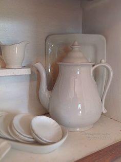 Ironstone butter pats, ironstone coffee pot