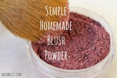 Make a homemade blush powder using arrowroot, cinnamon, and beet powder.  http://www.thedabblist.com/homemade-blush/