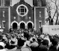 "Civil rights demonstrators, led by Dr Martin Luther King (not pictured), arrive in front of the Brown Chapel AME Church in Montgomery from Selma on March 26, 1965 in Alabama, on the third leg of the Selma to Montgomery marches. The Selma-to-Montgomery March for voting rights ended three weeks and represented the political and emotional peak of the modern civil rights movement. The first march took place on March 07, 1965 (""Bloody Sunday"") when 600 civil rights marchers were attacked by state…"