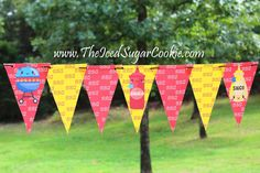 BBQ Cookout Grilling Birthday Party Printables Cupcake Toppers Food Tent Cards Templates Patterns Printouts Cutouts Free by The Iced Sugar Cookie Flag Bunting Banner Garland