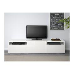 BESTÅ Tv-meubel - wit/Selsviken hoogglans/wit, laderail, zachtsluitend - IKEA