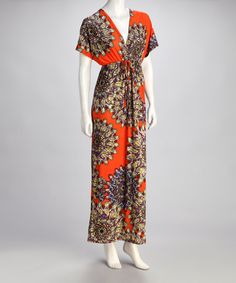 Take a look at this Orange Feather Cape-Sleeve Surplice Maxi Dress by Adore on #zulily today! $26.99, regular 70.00