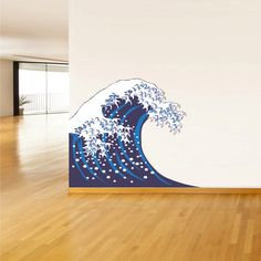 Full Color Wall Decal Mural Sticker Art  Asian Japan Japanese Wave Ocean Sea (col502)