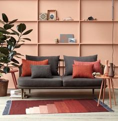 8 Pink walls ideas for a tropical summer - Daily Dream Decor Cozy Living Rooms, Living Room Decor, Bedroom Decor, Orange Home Decor, Mid Century Decor, Living Room Inspiration, Home Decor Accessories, Colorful Interiors, Living Room Designs