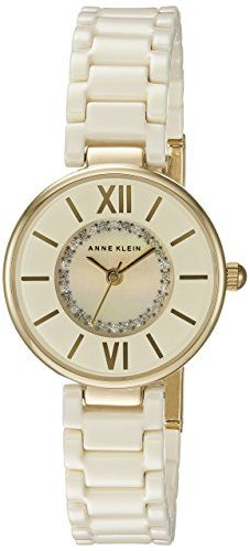 Anne Klein Womens AK2178IVIV Swarovski Crystal Accented GoldTone and Ivory  Ceramic Bracelet Watch  gt  gt aa1f26bc8d