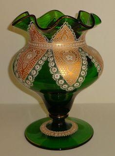 ANTIQUE MOSER GLASS VASE LACE DOILY GOLD HAND PAINTED ENAMEL19th C RARE BOHEMIAN picclick.com
