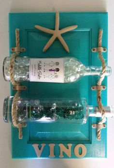 Beach Themed Hanging Wine Rack, Aqua Wine Rack, Cabinet Door Redo, Shabby Chic…