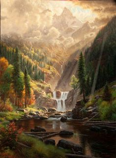 Mountain Serenity by Mark Keathley ~ waterfall river mountains pine trees sunrays - Pinned Fantasy Landscape, Landscape Art, Landscape Paintings, Borderlands, Fantasy Inspiration, Art Background, Fantasy World, Pretty Pictures, Beautiful Landscapes