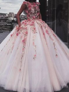 Jewel Tulle Long Cap Sleeves Ball Gown Prom Dress with Flower Appliques Prom Dress Ball Gown Prom Dresses Prom Dress Pink Prom Dress With Appliques Prom Dresses 2020 Floral Prom Dress Long, Pink Prom Dresses, Long Wedding Dresses, Pretty Dresses, Dress Prom, Party Dress, Gown Wedding, Pink Dress, Ball Gowns Prom