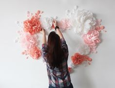White Pink and Peach flowers Wall Backdrop Wedding Wall Flower Wall Backdrop, Wall Backdrops, Backdrop Design, Diy Backdrop, Backdrop Wedding, Flower Wall Decor, Large Paper Flowers, Peach Flowers, Giant Paper Flowers