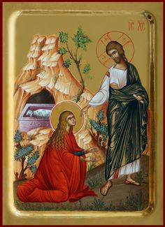 Maria Madalena Maria Magdalena, Greek Icons, Noli Me Tangere, Marie Madeleine, Christ Is Risen, Russian Culture, Christian Religions, Byzantine Icons, Religious Icons