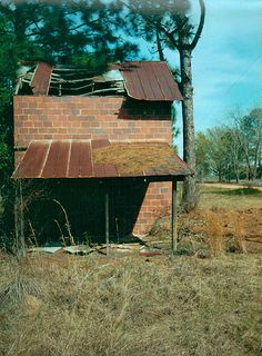 Red Tile Tobacco Barn Flue Cured Falling Roof Player Cemetery Road Ben Hill County GA Picture Image Film Photograph © Brian Brown Vanishing South Georgia USA 2012