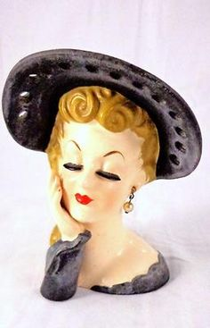 Vintage Lady Head Vase Black Hat Pearls Napco | eBay