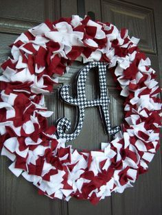 Change to Blue & White and place Indianapolis Colts horse shoe in middle!!!!  (Alabama football wreaths and door decor | University of Alabama Wreath)