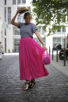 Rag&Bone Shirt, Isabel Marant Sandalen Isabel Marant, How To Look Pretty, Outfit, Midi Skirt, Pink, Stripes, Colours, Womens Fashion, Skirts