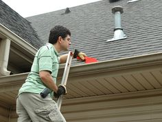 De-Junk the Gutters - Cleaning Tips for Your Home's Exterior and Yard on HGTV Gutter Cleaning Prices, Cleaning Hacks, Roof Drain, How To Install Gutters, Roofing Services, Workbench Plans, Garage Workbench, Heating And Air Conditioning, Flat Roof