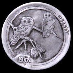 JIM BROYLES HOBO NICKEL - OWLS - 1937 BUFFALO NICKEL