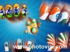 Indian flag nail art