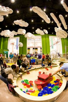 clouds hanging as environmentals. Take a journey down the river to explore science, nature and weather in River Adventures. Science, nature and weather combine to create this interactive exhibit! Play Spaces, Kid Spaces, Parc A Theme, Kindergarten Design, Kids Play Area, Play Centre, Kids Zone, Indoor Playground, Toy Store