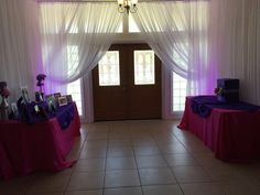 Event Type: Wedding Event Date: 1/16/2016 Event Location: Sacred Heart Catholic Church, Pinellas Park, FL Client Name: Mary Vega - Chad Services Provided: Ceiling Drapes, purple uplighting, pipe and drapes