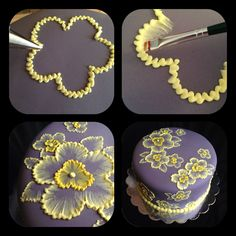 Brush embroidery: a cake decorating technique that is so elegant, and so easy! You'll simply an already-covered cake, a paintbrush, and some thinned buttercream icing in an icing bag (the sma…