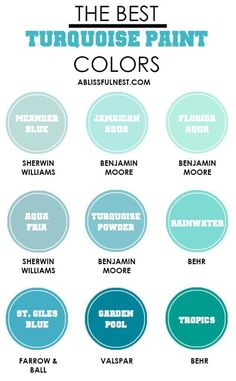 Do you love the color turquoise but don't know how to add it into your home decor? We've got design tips just for you on how to use turquoise in your home and paint colors to choose from. Check out A Deco Turquoise, Turquoise Paint Colors, Turquoise Painting, House Of Turquoise, Turquoise Bathroom, Turquoise Bedroom Paint, Turquoise Office, Turquoise Home Decor, Aqua Decor