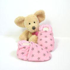 Chaussons bébé roses avec étoiles gris taupe, doublure en polaire rose 0/3 mois…
