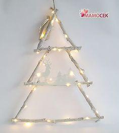 ALBERO DI NATALE in legno RAMI bianchi e LUCI LED h50 decorazione addobbo Shabby