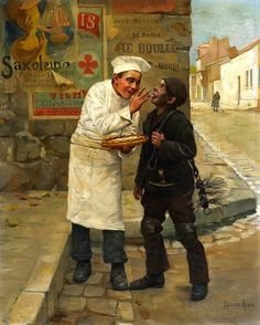 Paul-Charles Chocarne-Moreau (French, 1855-1931) - A stolen morsel