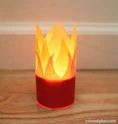 DIY Tissue paper flames wrap for LED tea lights and votives
