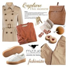 """""""Fashionista/Mizzue Accessories"""" by helenevlacho ❤ liked on Polyvore featuring American Eagle Outfitters, Burberry, Puma and mizzue"""