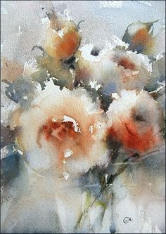 Roses 2 - Original Watercolor Painting 10x7 inches