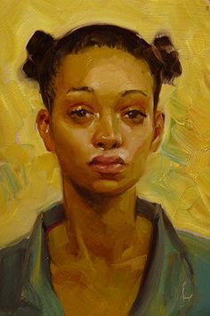 """Karat"" - John Larriva, oil on hardboard, 2014 {contemporary #expressionist artist female portrait african-american black woman face painting}"