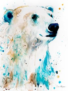 Polar bear watercolor painting print by Slaveika Aladjova Bear Watercolor, Watercolor Animals, Watercolor Paintings, Polar Bear Drawing, Polar Bear Tattoo, Acrylic Portrait Painting, Acrylic Art, Body Painting, Bear Paintings