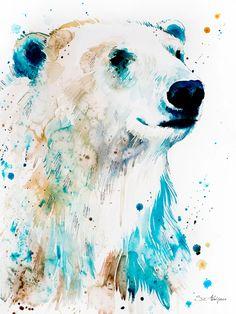 Polar bear watercolor painting print by Slaveika Aladjova Framed Art Prints, Painting Prints, Watercolor Paintings, Body Painting, Bear Watercolor, Watercolor Animals, Polar Bear Drawing, Art D'ours, Bear Paintings