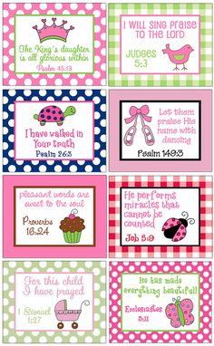 Girl 8x10 Art Print with Bible Verse for Bedroom  Nursery  Bathroom Playroom - Design your own