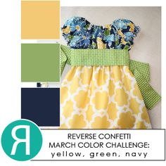 Reverse Confetti Color Challenge, March 2014: yellow, green and navy.