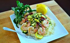 Garlic lemon prawns and summer squash capellini - Sub in gluten free pasta and this would be perfect! :)