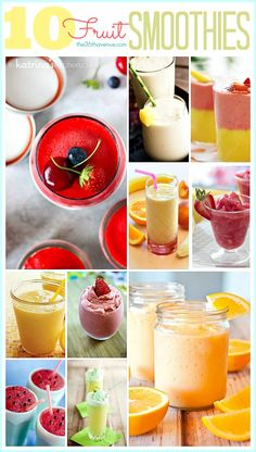 10 Fruit Smoothie Recipes at the36thavenue.com Perfect choices for a healthy breakfast or snack. #smoothierecipes #smoothie