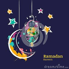 Ramadan Greeting Card With Traditional Watercolor Lantern, Moon And Stars On Night Sky. Stock Vector - Illustration of decoration, adha: 72658114 Ramadan Cards, Ramadan Greetings, Eid Mubarak Greetings, Ramadan Poster, Eid Mubarak Greeting Cards, Ramadan Kareem Vector, Ramadan Decorations, Arabic Art, Diy Crafts For Gifts