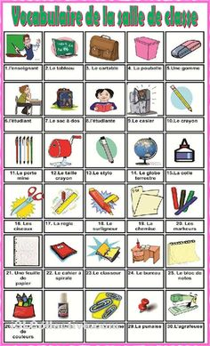 La salle de classe French Language Lessons, French Language Learning, French Lessons, French Flashcards, French Worksheets, French Teaching Resources, Teaching French, Basic French Words, French Practice