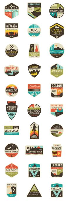 Interesting use of various shapes and colour schemes for different logo's, again…