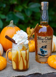Let's pumpkin spice things up with this dessert cocktail recipe. Perfect for fall and Halloween!  Blend ice cream, rum cream, purée, spiced rum, pumpkin spice, and vanilla until smooth. Drizzle the inside of glass with caramel. Pour milkshake into a glass, then top with whipped cream, caramel, and a cinnamon stick. #bluechairbay #spicedrum #coconutspicedrumcream #BCBHappyHour Creme De Rum, Rum Cream, Coffee Ice Cream, Whipped Cream, Rum Recipes, Alcohol Drink Recipes, Caramel Recipes, Recipies, Cocktail Desserts