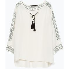 Zara Long Embroidered Blouse ($36) found on Polyvore featuring tops, blouses, shirts, blusas, ecru, long white shirt, zara shirt, white shirt, long shirts and shirts & blouses