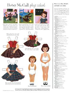 Betsy McCall Paper Dolls - 300 dpi* For lots of free paper dolls International Paper Doll Society #ArielleGabriel #ArtrA thanks to Pinterest paper doll collectors for sharing *