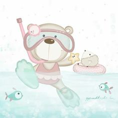 Ursinho nadador Outdoor Baby Photography, Baby Animals, Cute Animals, Baby Posters, Kids Room Paint, Baby Illustration, Baby Painting, Baby Memories, Cute Teddy Bears