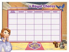 Sofia the first's royal chore chart.