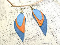 Pendientes largos cuero azul-naranja