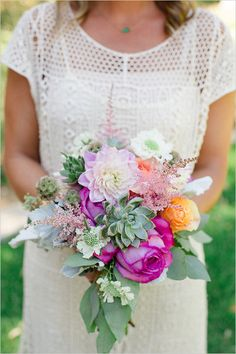 Succulent and bright wedding bouquet.