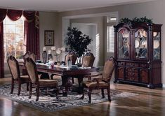 Elegant Formal Dining Room Furniture | Welmax Furniture 2440 Cherry Formal Dining Room Table Chairs Set